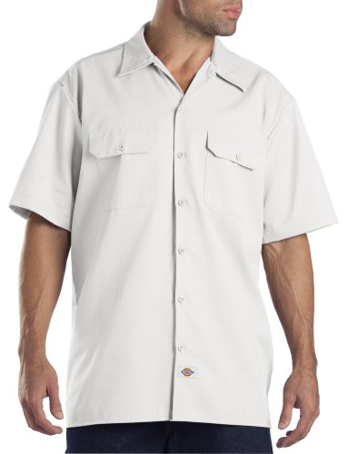 (Dickies Men's Short-Sleeve Work Shirt, White, Medium)