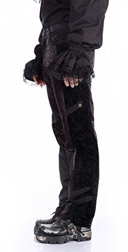 Pantalones, color negro, con diseño floral en el lado elegante diseño gótico de steampunk negro