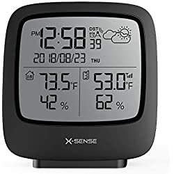 X-Sense Wireless Weather Station with 500 FT Wireless Range Remote Sensor, Accurate Temperature and Humidity Monitor, Weather Forcast, RCC Time