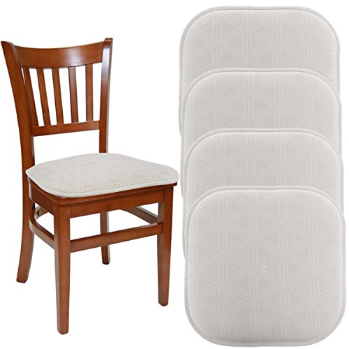 "Folding Chair Seat Pad - DreamHome (Set Of 4) Nonslip Chair Pads For Dining Chairs Office Chairs, 16"" x 16"" Indoor Memory Foam Gripper Chair Pad Cushion For Kitchen Chairs, Seat Pillow For Rocking Chair"