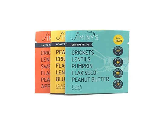 Jiminys Sampler Cricket Protein Dog Treats 3 Flavors Blueberry Peanut Butter & Pumpkin Dog Food With Natural Apple Flavor Sweet Potato Flax Seed Vitamins Chewable Cookies 0.5 oz 3 packs Review
