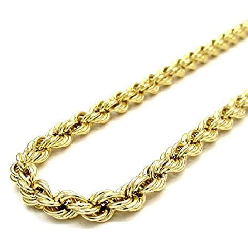 - 41qDk9WNnYL - 10K Gold 5.0MM Diamond Cut Rope Chain Necklace Multiple Lengths Available 18″-30″- Lobster Lock Closure