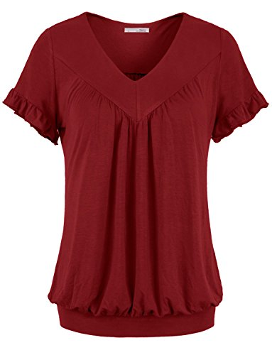 Messic Womens V Neck Short Sleeve Draped Patchwork Knitted Tunic Blouse Top – Large, 64#Wine