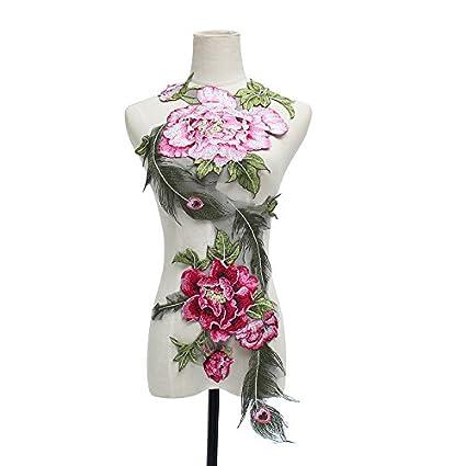 dd77fec67c01c Petsdelite Black: Peacock Rose Flower Sequins Embroidered Lace ...
