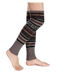LIWEIKE Women Knee High Socks Winter Bohemian Knit Crochet Leg Warmers