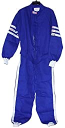 NEW RJS BLUE 1 PIECE DRIVING SUIT, X-LARGE SINGLE LAYER UNIFORM, SFI SPEC OF 3-2A/1, PROBAN / FR-7A MATERIAL AND SEWN WITH NOMEX THREAD, CUFFS, AND ZIPPERS, GREAT FOR NUMEROUS TYPES OF RACING AND OFF-ROAD APPLICATIONS