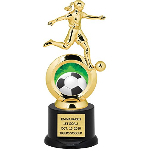 (Girl's Soccer Trophy for Kids with Free Custom Engraving - 8.75 inch)