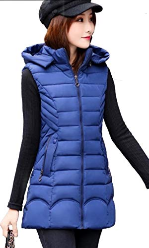 Blue TTYLLMAO Women's Down Hooded Packable Puffer Sleeveless Denim Vest vBfvwq8x