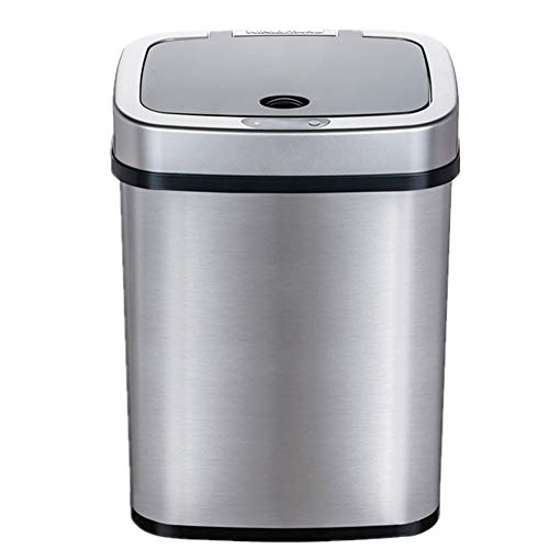 JenLn Container met recycling capaciteit 12L Intelligent Inductie RVS Trash Can Office Home Woonkamer Slaapkamer…
