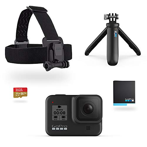 GoPro HERO8 Black Holiday Bundle - Includes HERO8 Black Camera Plus Shorty, Head Strap, 32GB SD Card, and 2 Rechargeable Batteries