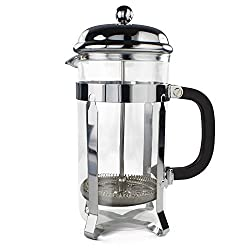 Simple Chef Stainless Steel French Press - Best Coffee Pot Press & Tea Maker w/ Heat Resistant Shatterproof Glass - Great Gift Idea - Set Includes Plunger, Frame, Filters & Spoon made by Simple Chef