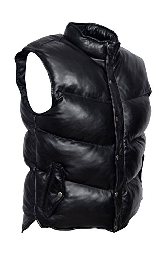Hommes noir rembourré Puffer Gilet Waistcoat manches véritable Veste en cuir véritable