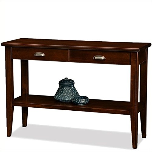 BOWERY HILL Wood Rectangular Console Table in Chocolate Cherry