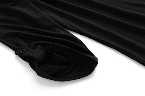 84d8dde1db0b4 Zattcas Womens Floral Printed Tunic Shirts 3 4 Roll Sleeve Notch Neck Tunic  Top (