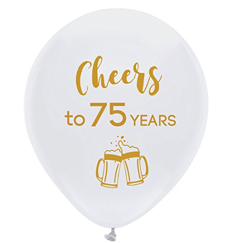 White cheers to 75 years latex balloons, 12inch (16pcs) 75th birthday decorations party supplies for man and woman -