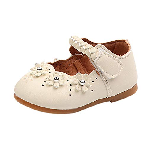 Infant Baby Toddler Girls Princess Shoes for 0-4 Years Old,Cute Kids Flower Leather Soft Sole Flat Casual Shoes (0-3 Months, Beige)