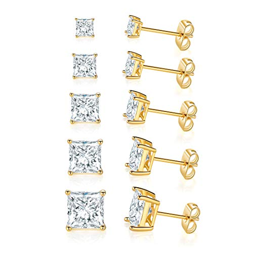 14K Yellow Gold Plated Princess Cut Clear Cubic Zirconia Stud Earring Pack of 5 Pairs