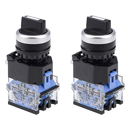 - uxcell Rotary Selector Switch 2 Positions 1NO 1NC Momentary AC 660V 10A 22mm Panel Mount Set of 2