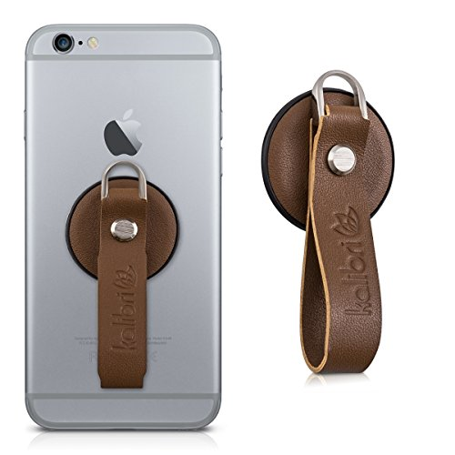 kalibri Fingerholder for Smartphone/Tablet in brown - comfortable Real Leather Mobile Finger Holder - e.g. compatible with iPhone 7 Plus, Samsung Galaxy S7 etc.