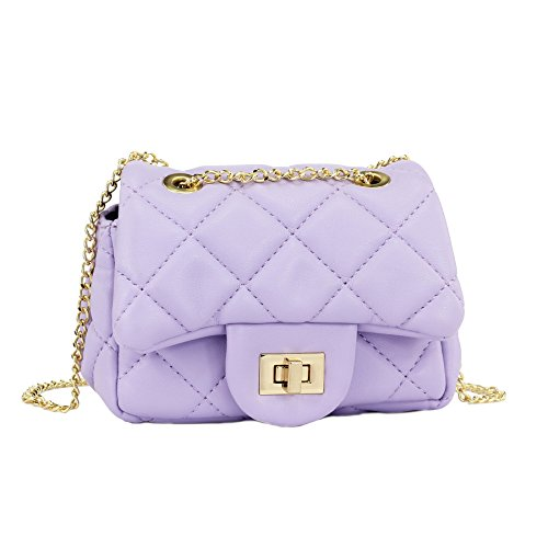 (CMK Trendy Kids Glitter Toddler Purse for Girls Sparkly Quilted Little Girl Purses (Lambskin purple))