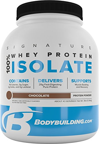 BodyBuilding.Com Signature 100 Whey Protein Powder Chocolate Isolate 25g of Protein per Serving 3 lbs