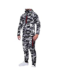 Limsea Men's Autumn Winter Camouflage Top Pants Sports Suit Tracksuit