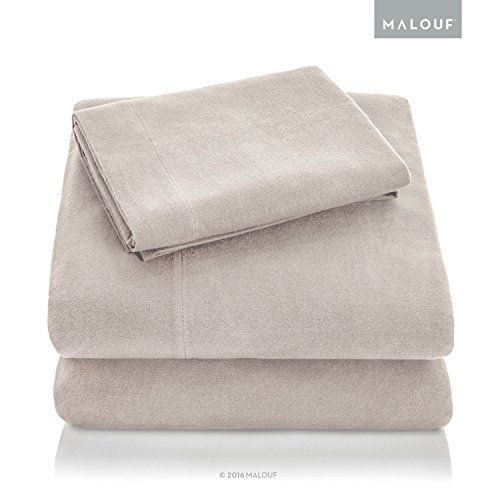MALOUF Woven Heavyweight Portuguese Flannel Sheet Set - 100% Cotton Pill Resistant Bedding - Queen - Oatmeal ()