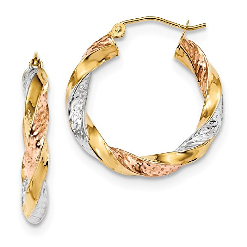 14k Tri Color Yellow White Gold Twist Hoop Earrings Ear Hoops Set Fine Jewelry For Women Gift Set ()