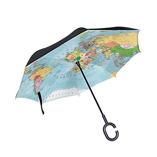 AHOMY Inverted Reverse Umbrella World Map River Lake Windproof for Car Rain Outdoor by AHOMY