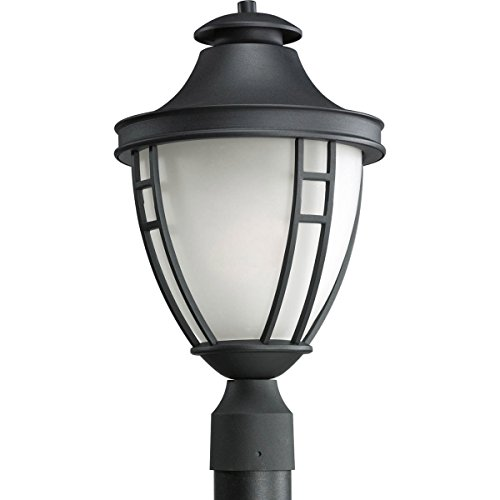 Post Lighting Lights Progress - Progress Lighting P5402-31 1-Light Post Lantern with Etched Glass In Black Finish, Textured Black