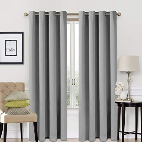 EASELAND Blackout Curtains 2 Panels Set Room Drapes Thermal Insulated Solid Grommets Window Treatment Pair for Bedroom, Nursery, Living Room,W52xL95 inch,Light Grey (Play Curtain)