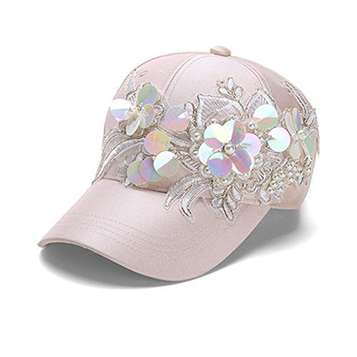 Sun hat Outdoor Pearl Sequined Fashion Lady Sun Baseball Cap (Color : Champagne)