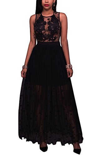 Sexycherry Women Sexy Lace Perspective Sheer Mesh Patchwork See Through Sexy Club Dress