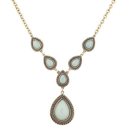 Lux Accessories Burnish Gold Tone Faux Jade stone Teardrop Statement - Faux Necklace Teardrop