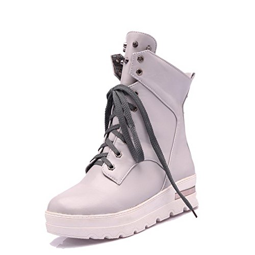 Gray Solid Material Low Heels Lace up Boots top Women's AgooLar Soft Kitten xqIp00P