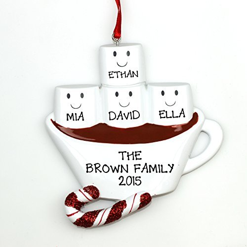 Marshmallow Ornament - Hot Chocolate with Marshmallows Family Personalized Christmas Tree Ornament (Family of 4)