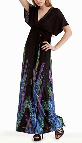 Anchas Patrón Tallas Grandes V Largos Moda Fiesta Elegante Black Print Vestido Dresses Playa De Mangas Cuello Señoras Mujer Verano 1 Vestidos Murciélago Casuales Dress wqfRT