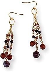 Fashion Earrings Dangle Purple Beads and Gold Tone Metal Chains