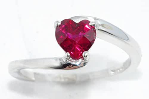 Created Ruby Checkerboard Heart Ring .925 Sterling Silver Rhodium Finish