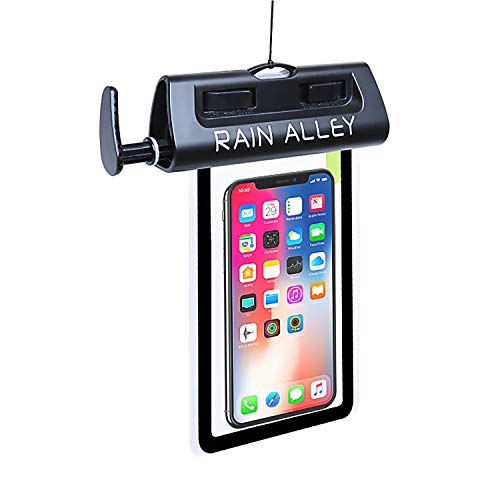 RAIN ALLEY Universal Waterproof Case, IPX8 Waterproof Phone Pouch Dry Bag Air Suction Waterproof Test iPhone X/8/8plus/7/7plus/6s/6/6s Plus Samsung Galaxy s8/s7 HTC10 LG up to 6.0 – Black
