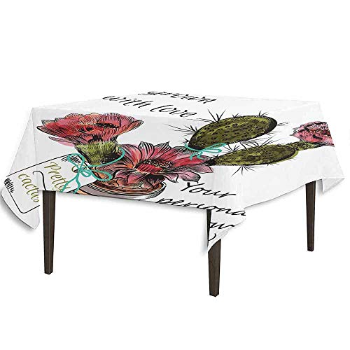 shable Tablecloth Sketch Prickly Pear Watercolor Style Exotic Tropic Succulent Plant for Window Garden Dinner Picnic Home Decor W54.3 x L54.3 Inch Multicolor ()