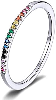 Presentski Stackable Rings 925 Sterling Silver Simple CZ Stimulated Diamond Stacking Hoop Ring Eternity Bands
