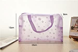 Jdbuy Multipurpose Floral Crystal Comestic Makeup Beauty Storage Travelling Bath Bag (Purple)