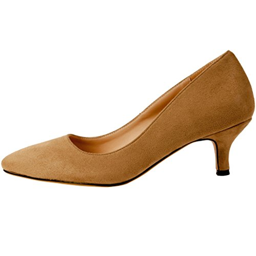Brown 5CM Slip Court Women Stiletto Shoes Cahalfway Calaier 5 Pointed On Toe FwXqUPxpP