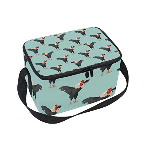 Lunch Bag Pet Rooster Chicken, Large Insulated Bento Cooler Box with Black Shoulder Strap for Men Women Kids, BaLin 10