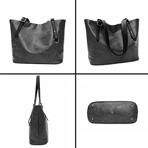 de Las del Bolso la de Color Bolso Handbag 4 Mujeres del PU de la Bolso Negro A de Las señoras del Suave Cuero Cara z76awq