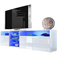 TV Stand Roma Matte Body High Gloss Doors Modern TV Stand LED (white)