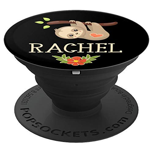 Rachel Gift Sloth Heart Flowers Black Brown Gold Tan Rose - PopSockets Grip and Stand for Phones and Tablets