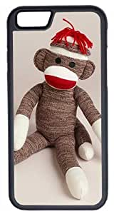 iPhone 6 Case, CellPowerCasesTM Sitting Sock Monkey [Flex Series] -iPhone 6 (4.7) Black Case [iPhone 6 (4.7) V1 Black] by Maris's Diary