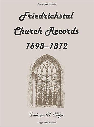 Friedrichstal Church Records, 1698-1812